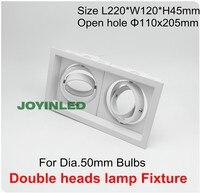 אקספרס משלוח חינם 360 rotable GU10/ראשים כפולים קבועה לבן הנורה הלוגן ספוט GU5.3 MR16 led downlighters