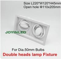 Expresse Frete grátis 360 rotable GU10/MR16 GU5.3 spot Bulbo de Halogênio luminária branca cabeças dobro conduziu projectores encastrados