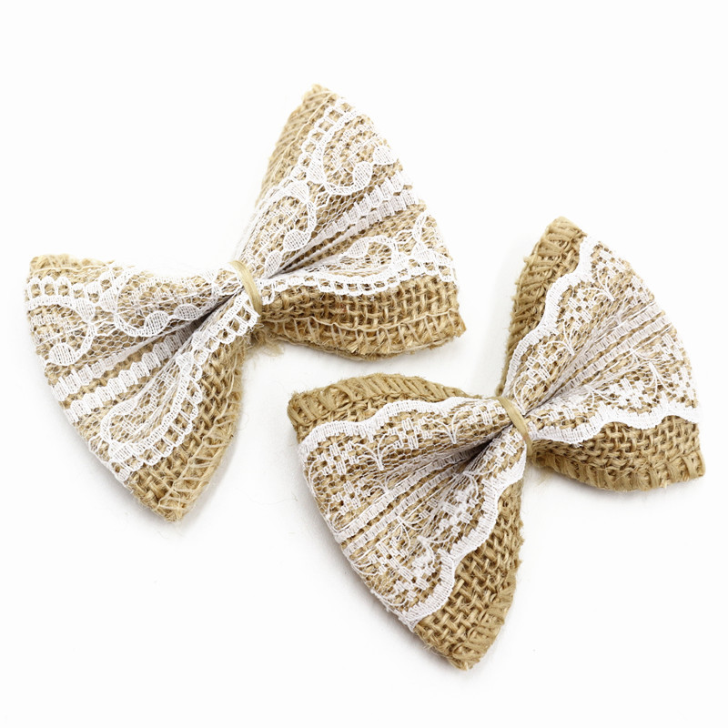 10pcs/Pack wedding decoration Natural Jute DIY Ribbon Bow Knot Burlap Hessian Flower Party Burlap Scrap-booking Lace Craft(China)