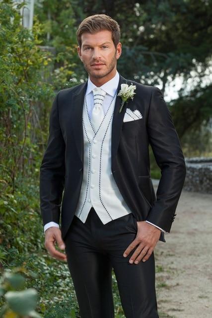 Brand New Groom Tuxedos Shinny Black Tuxedos For Best Man/ Bridegroom Wedding Party Dress 2017 New Design(Jacket+Pants+Tie+Vest)