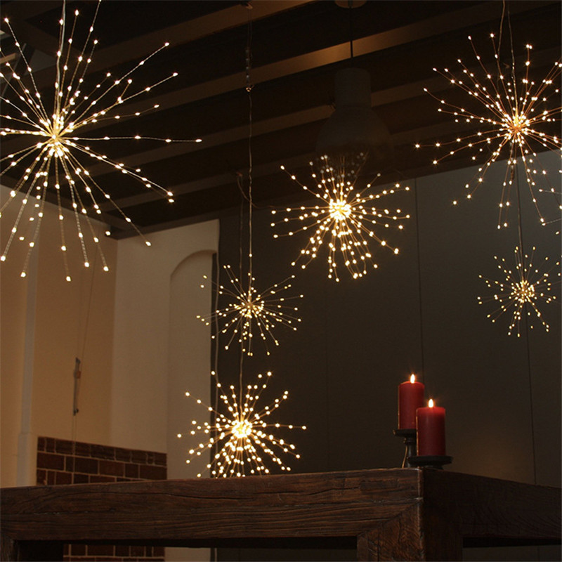 Battery or Solar Hanging Starburst Fairy Strig Lights 200 Leds DIY Copper Fireworks String Garland Xmas Party Twinkle Lights 200 leds diy hanging starburst string light solar powered firework copper fairy garland christmas wedding twinkle lights ca79