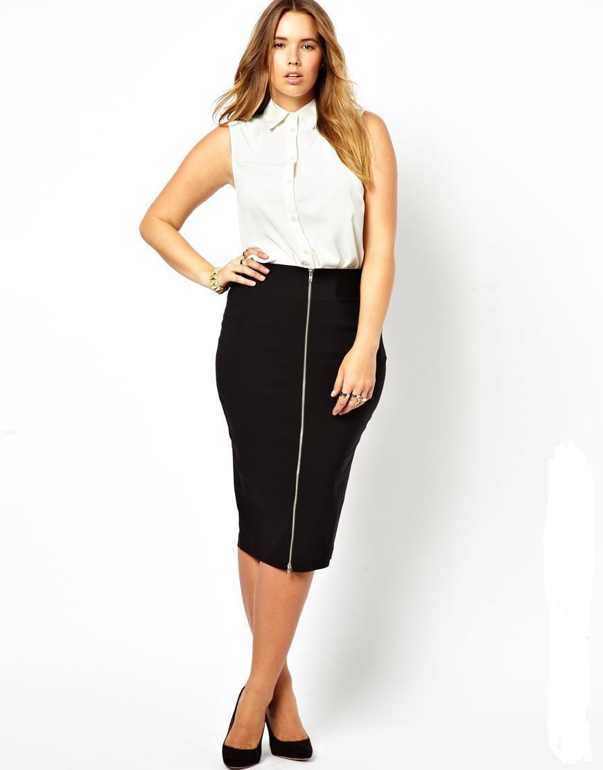 Plus Size High Waisted Pencil Skirt