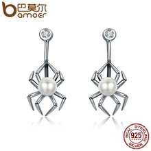 BAMOER Genuine 925 Sterling Silver Animal Spider Simulated Pearl Drop Earrings for Women Luxury Silver Jewelry Brincos SCE072