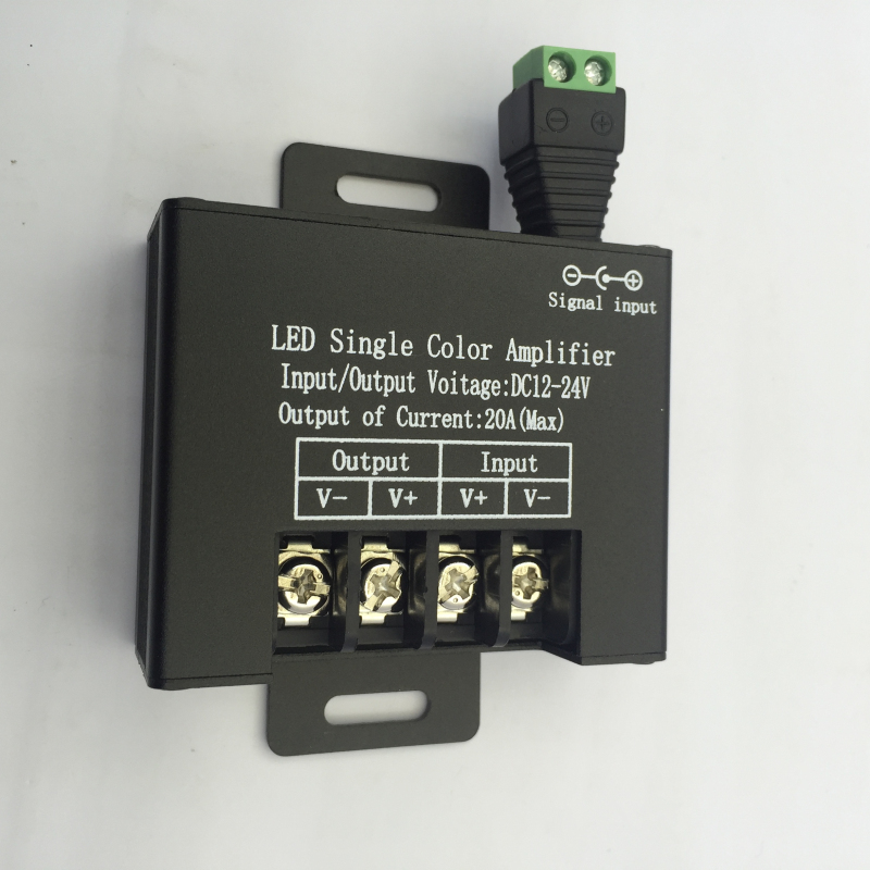 3pcs Aluminum Case Black DC 12-24V 20A Max Data Repeater Signal Amplifier For SMD 3528 5050 Single Color LED Strip Lights