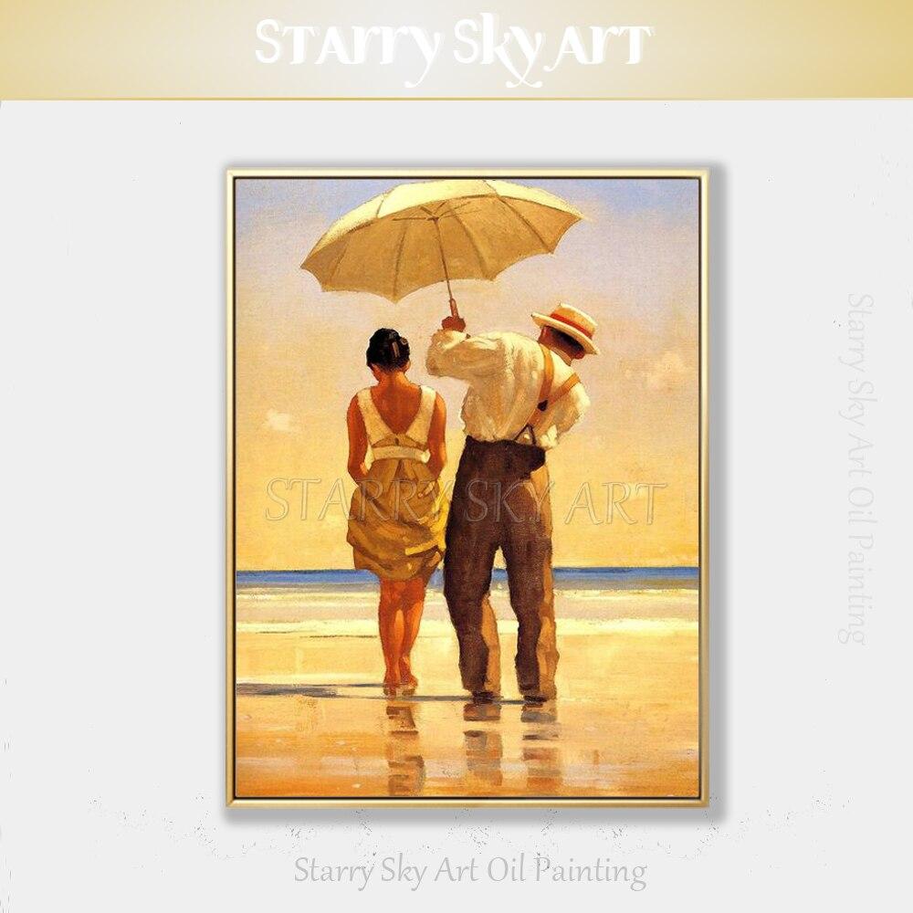 Artiste qualifié peint à la main de haute qualité impressionniste paysage homme et femme à la plage peinture à l'huile Pop Fine Art peinture à l'huile