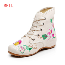 Embroidered Cloth Womens Ankle Wedge Boots New Fashion Chinese National Wind Lace Up Oxford for women White Bootie