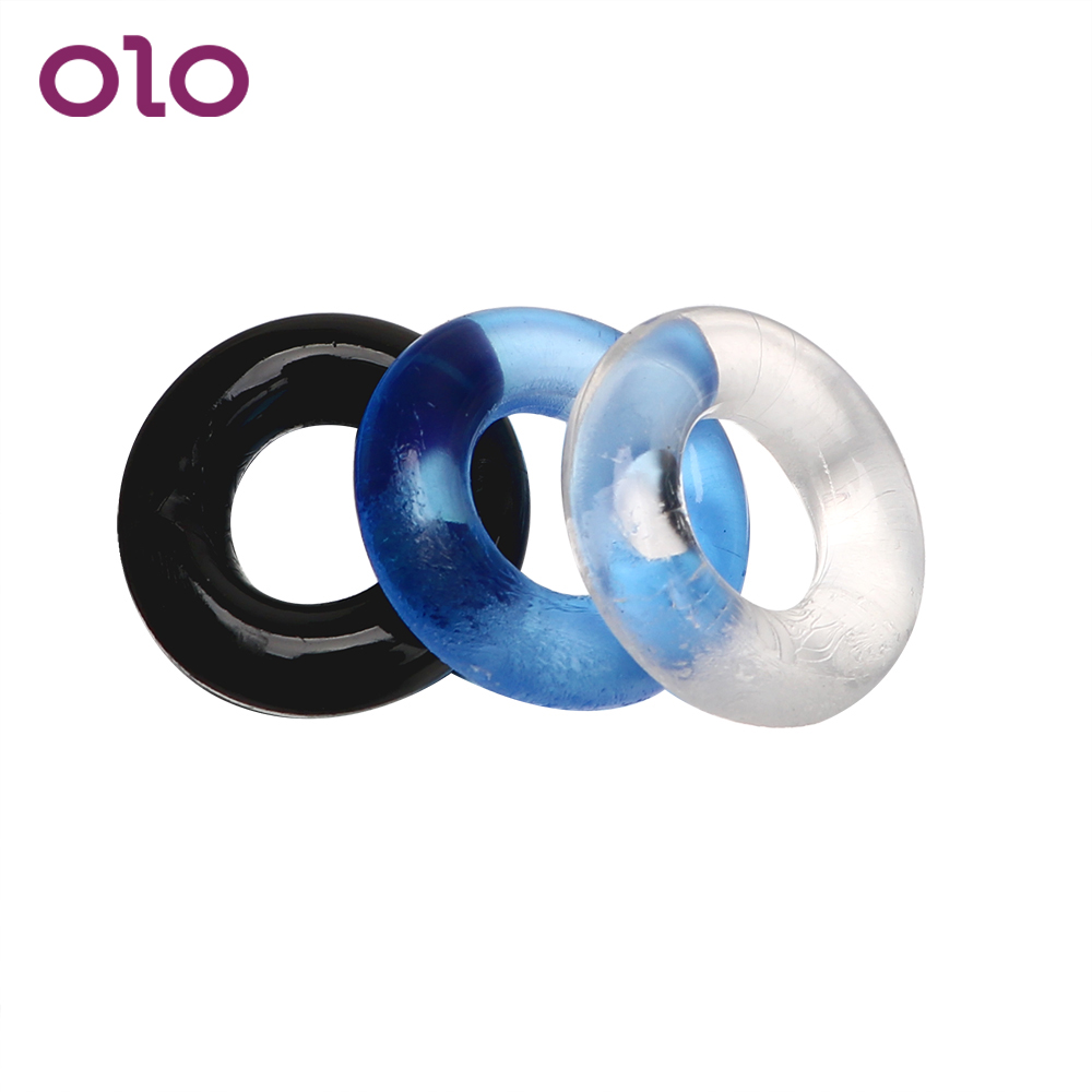 OLO 3 Pcs/set Delay Ejaculation Cock Ring Penis Ring Sex Products Penis Sleeve Multi-color Sex Toys For Men Male Silicone