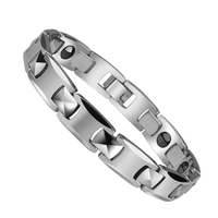 Popular Magnetic Therapy Beads White Tungsten Bracelet Link Wrist Hematite Silver Black Polished Man 39.1g/Woman 21.7g