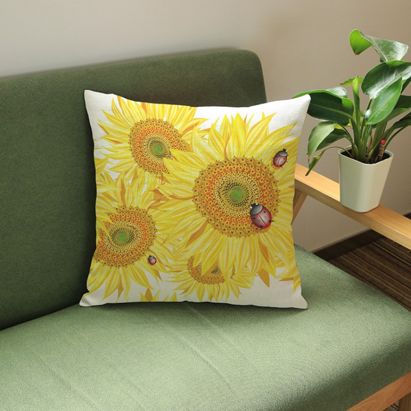 US Casual Summer Theme Beach Yellow Sunflower Print Cushions Decoratives For Living Room Car Pillow Covers Sofa Cushion Covers