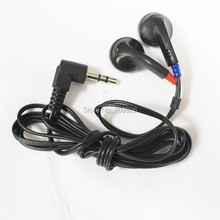2000 Pack disposable earbuds black stereo earpiece DE-05 low cost earphone for tourist bus ,school ,gyms ,hospital