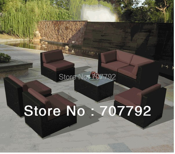 2014 modern garden furniture 7pc black wicker sofa black garden furniture