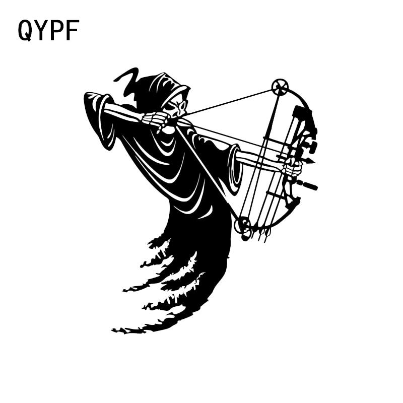 QYPF 14.5*16.5CM Interesting Reaper Bow Arrow Hunter Decor Car Sticker Silhouette Extreme Movement Vinyl C16-1633