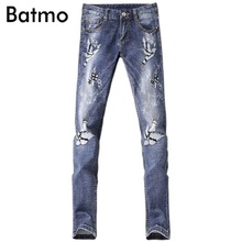2017 new arrival high quality classic elastic casual skinny embroidery jeans men ,men's casual blue jeans ,size 28 to 36