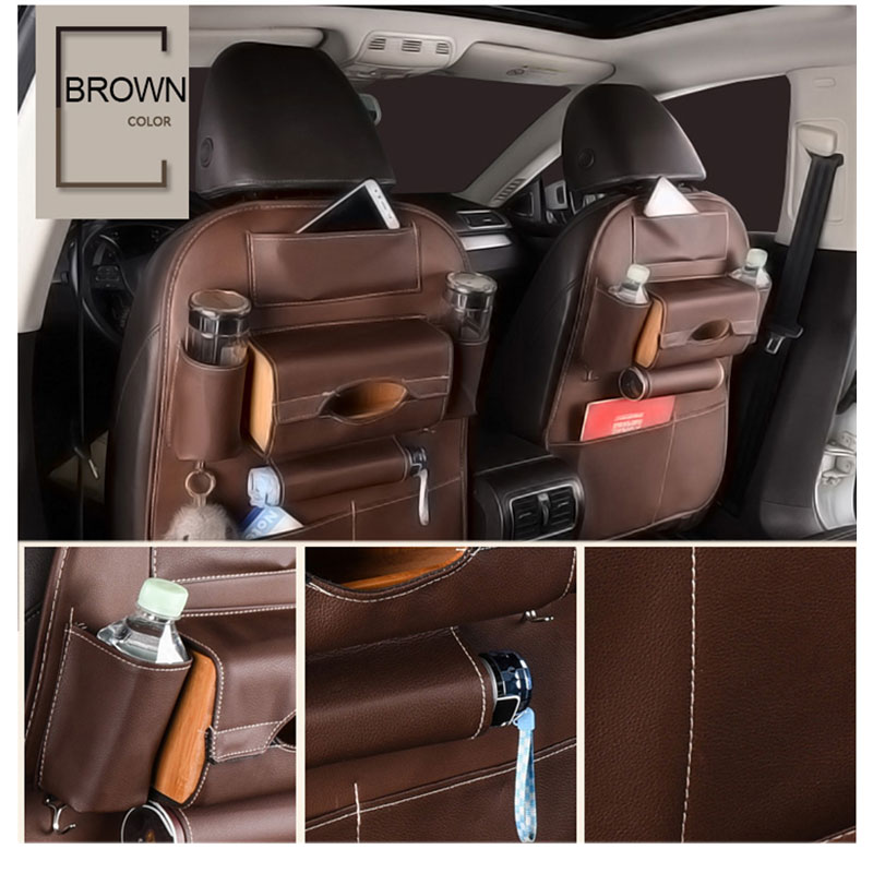 Car Seat Back Storage Bag Universal PU Leather Seats Organizer Travel Box Pocket Stowing Tidying Protector Kids Auto Accessoires (7)