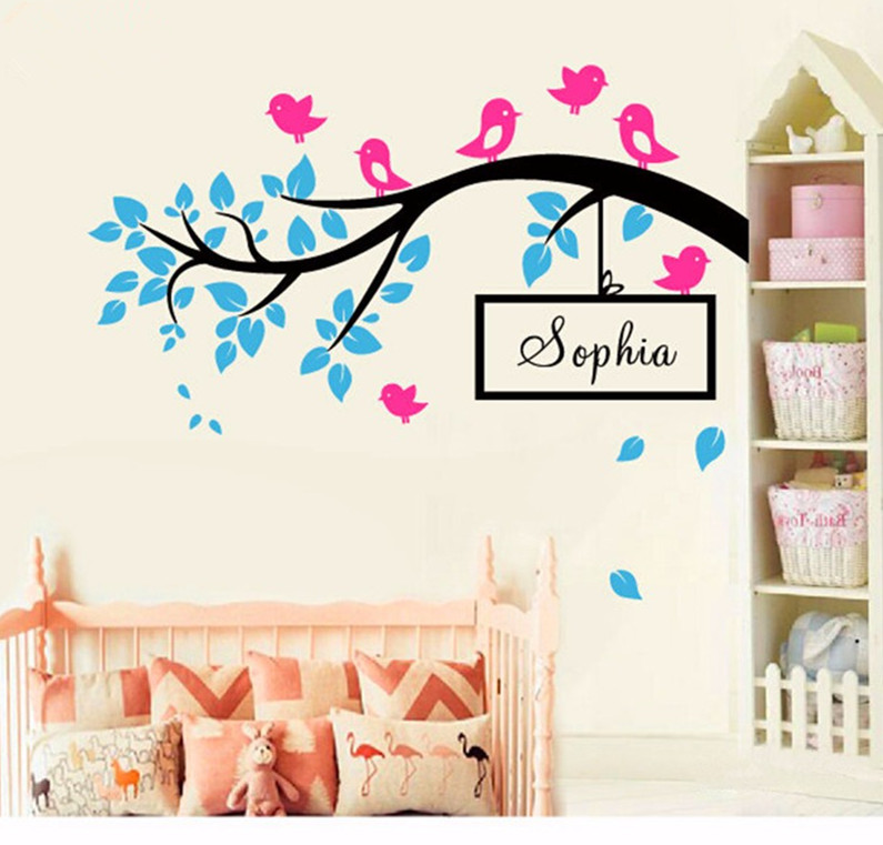 diy birds on tree branch vinyl wall decal wall art decorative stickers custom baby name wall. Black Bedroom Furniture Sets. Home Design Ideas