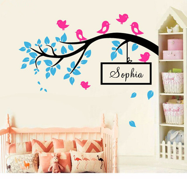 Cling Wall Art & DIY Birds On Tree Branch Vinyl Wall Decal Wall Art ...