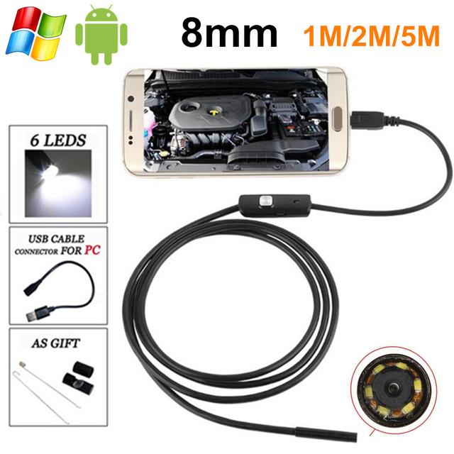 Hd720p 1.3mp 8mm android usb endoscopio cámara 6led flexible boroscopio endoscopio usb android otg usb con cable 1 m/2 m/5 m para samsung