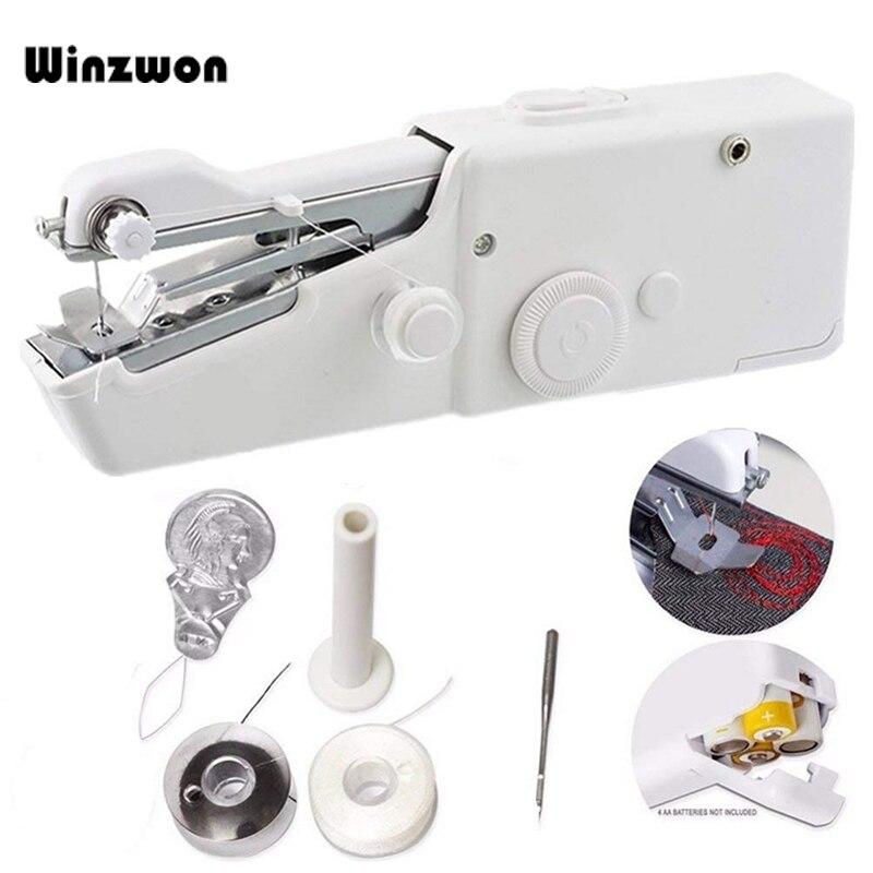 Uso Doméstico portátil Mini Máquina De Costura Da Mão Rápida Ponto Sew Costura Sem Fio Roupas Tecidos Máquina De Costura Eletrônica