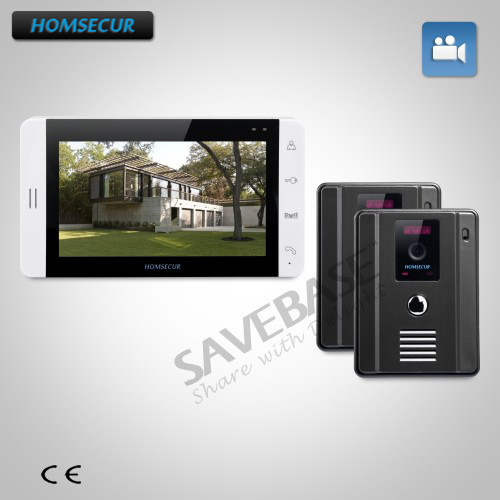 HOMSECUR 7 Wired Door Phone Intercom Set with Outdoor Monitoring for House/Flat