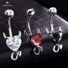 1 Piece 316L Stainless Steel Garnet Heart Zircon Crystal Devil Belly Button Ring Navel Piercing Nombril Ombligo Body Jewelry 14g(China)