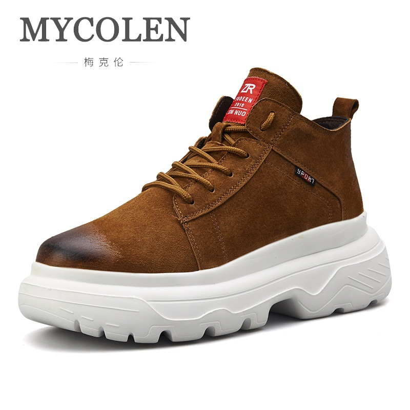 MYCOLEN Men Casual Shoes Spring/Autumn Fashion Sneakers Breathable Handmade Height Increasing Shoes Man Breathable Footwear
