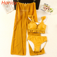 2018 New 3 Pieces Bikinis Sets Swimsuit Female Hot Spring Yellow Bikini Push Up Swimwear Swim Dress for Women Dress