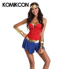 Wonder Woman Cosplay Costumes Halloween Sexy Dresses For Women Superhero Superwoman Outfit Fancy Dress Headwear Wrist Band Suits