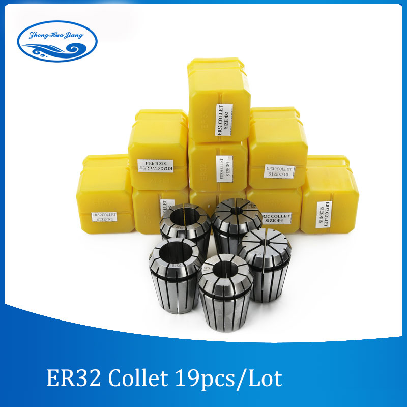 19pcs ER32 Collet Chuck set 2-20mm Tool Holder Milling Chucks CNC Lathe Tools for Engraving Drilling Machine Tools new 19pcs er32 spring collet set with mt2 er32 m10 collet chuck taper holder for cnc engraving machine and milling lathe tool
