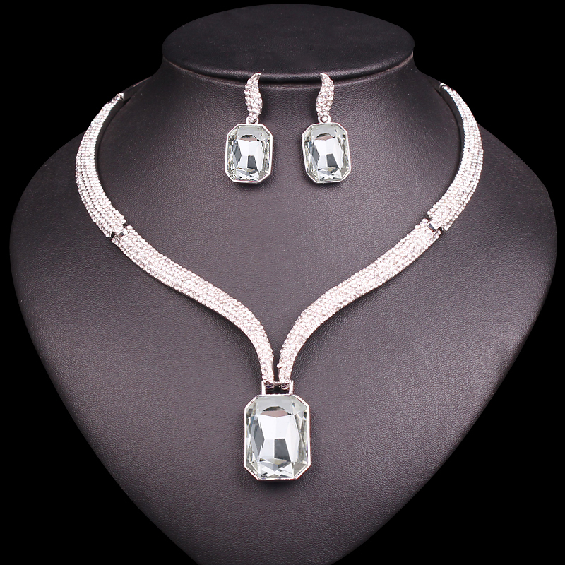 Aliexpress Com Buy New Fashion Necklace Earrings Bridal: Fashion Choker Necklace Earrings Sets Silver Plated Bridal