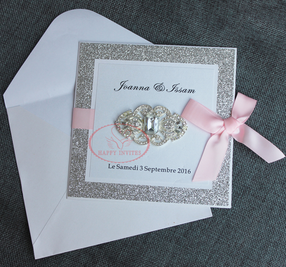 Hi1095 Hot Sale Luxury Glitter Wedding Invitation Card With Ribbon And Rhinestone Brooch: Wedding Invitations With Rhinestones At Reisefeber.org