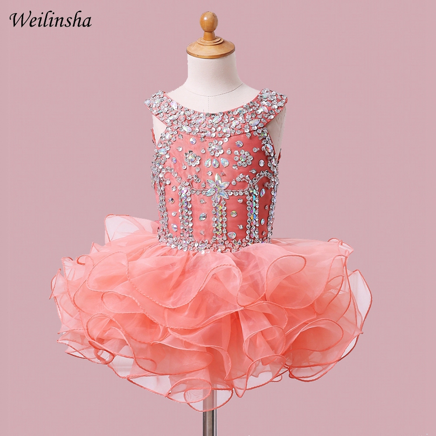 Weilinsha Cheap   Flower     Girls     Dresses   Pageant   Dress   Open Back Beading Crystals First Communion   Dresses   for Little Baby