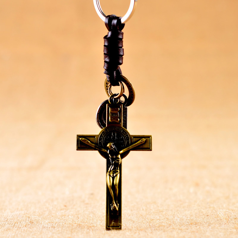 2017 hot sale Bag Car Key Ring Jewelry Gift Key chain cross Key chain for men 40x70mm Hole:Approx 30mm, 3Strands/Bag Sold By Bag