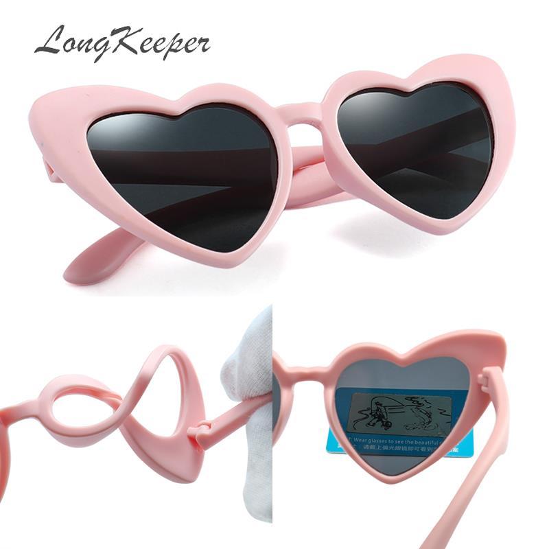 LongKeeper Baby Girl Sunglasses For Children Heart 2019 TR90 Black Pink Red Heart Sun Glasses For Kids Polarized Flexible Uv400