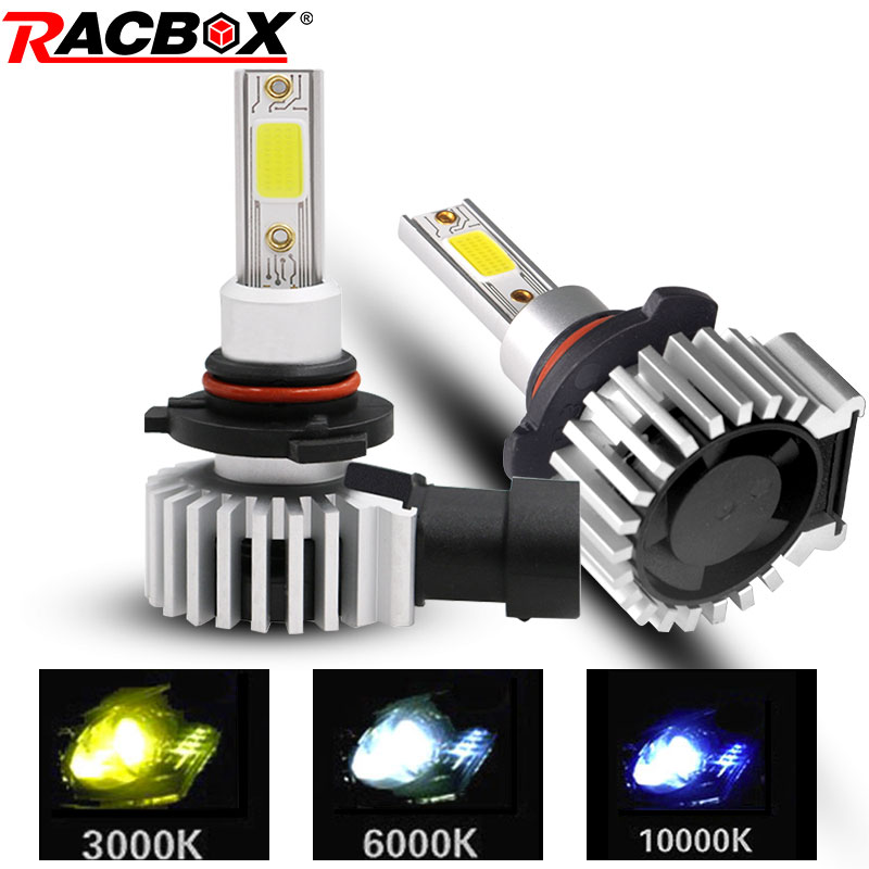 RACBOX 2pcs H4 H1 H3 H7 H11 H8 H9 H27 880 881 9005 HB3 9006 HB4 Led Headlight Bulbs 72W 8000LM Car Styling 3000K 6000K 10000K