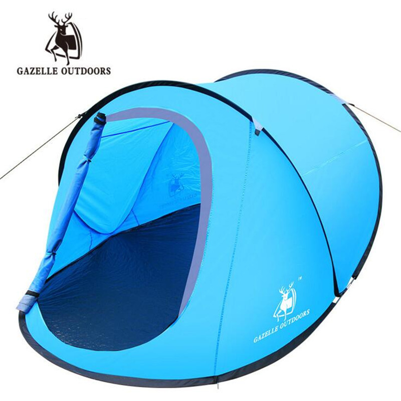 GAZELLE OUTDOORS Outdoor 2 Persons Automatic Speed Open Throwing Pop Up Windproof Waterproof Beach Camping Tent Large Space S159 outdoor double layer 10 14 persons camping holiday arbor tent sun canopy canopy tent