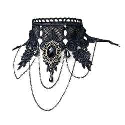 Женские Готический стиль чокер вышитые кружево кулон Свадебные украшения в стиле Панк Винтаж кисточкой поддельные воротник искусственны