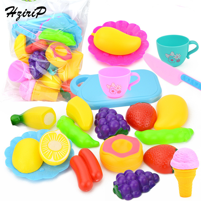 HziriP 15Pcs Plastic Kitchen Food Fruit Vegetable Cutting Kids Pretend Play Educational Toys for Children Gifts Free Shipping