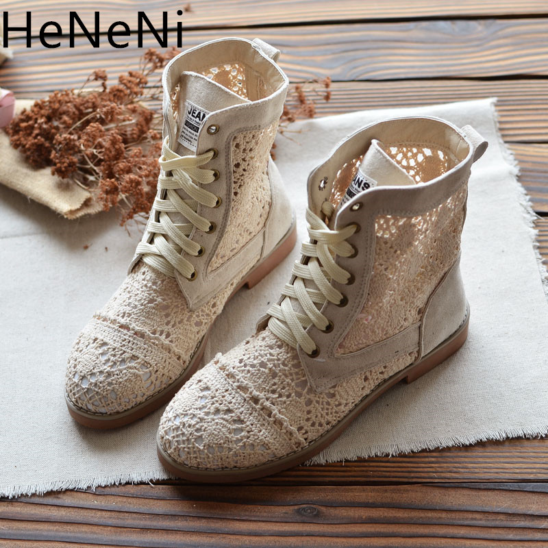 2019 Womens Summer Hollow Breathable Knit Line Mesh Martin boots Korean High Lace Up Women Boots