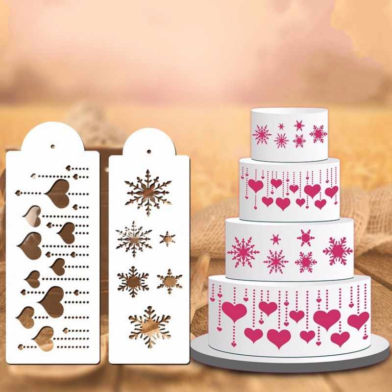 Christmas Love Snowflake Flower Cake Stencil DIY Cake Spray Fondant Template Cookie Cake Decorating Molds Kitchen Baking Tools