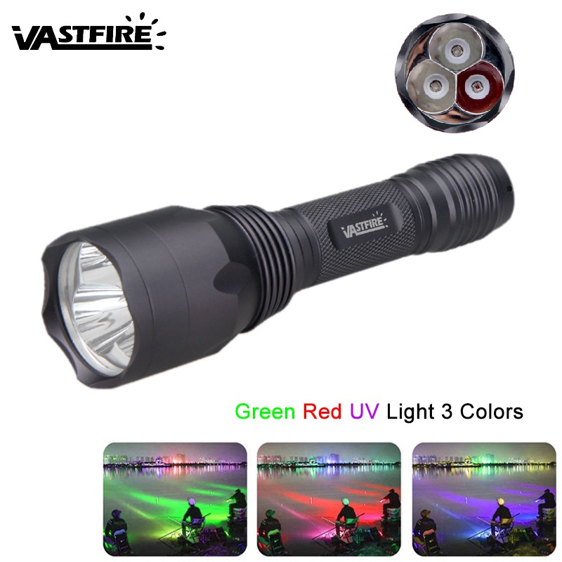 C10 Ultra Bright LED Hunting Flashlight 1 Mode Green/Red/UV Light 3 Colors in 1 Tactical Flashlight for 18650 Battery все цены