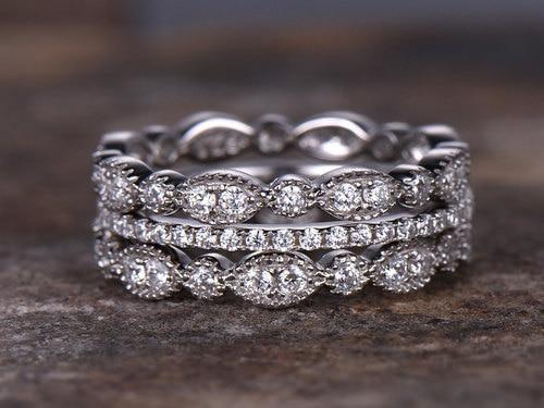 3pcs full eternity wedding ring set 925 sterling silver wedding band