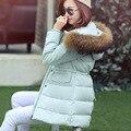 Поступила новая Мода 2016 Повседневная Зимняя Куртка Женщины Мягкий Теплый Тонкая Талия Искусственного Меха Шляпа Молния Вниз Пальто Высокого Качества