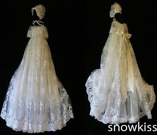 Elegant Whiteivory Lace With Bonnet Baby Dress Baptism Gowns For