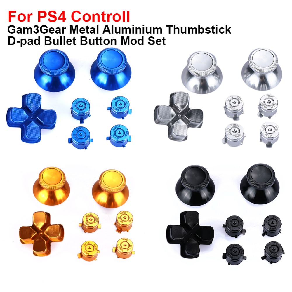 Thumb Stick Grip Cap Bullet Buttons Set Kits Gold Game Machine Video Game Metal Bullet Buttons Metal for Sony PS4 controller