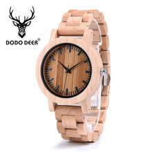 DODO DEER Fashion Simple Maple Handmade Wooden Luxury Light Quartz Male Watch Watches Men Customize Gift Present Drop Ship A04-4