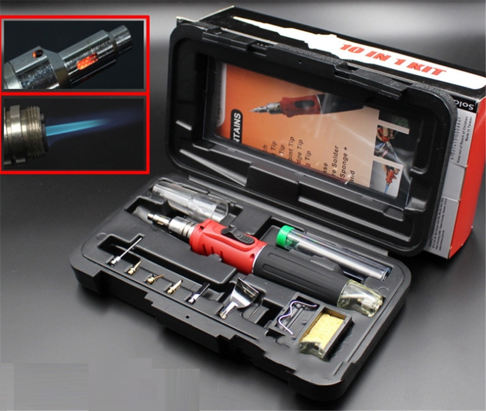 HOTERY HS-1115K Soldering Iron Professional 10 in 1 Soldering Iron Set Butane Gas Soldering Iron Set 26ml Welding Torch Kit Tool 10 in 1 kit professional gas soldering iron butane welding gas touch soldering cordless welding tools heat gun hs 1115k