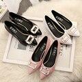 Плюс размер 35-43 10 9 Женщин насосы Низком Каблуке Патент кожа Лодка Обуви Пряжки Горный Хрусталь Насос Женщина Острым Носом Свадьба обувь