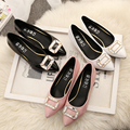 Plus size 35-43 10 9  Women pumps Low Heels Patent Leather Boat Shoes Buckle Rhinestone PUmp Woman Pointed Toe Wedding Shoes