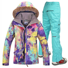 Free shipping Women Waterproof Gsou Snow Skiing Suit Windproof Ski Jacket And Pants Set Breathable Snowboard Ski Clothing Women gsou snow men ski jacket snowboard jacket windproof waterproof outdoor sport wear skiing snowboard clothing male winter jacket