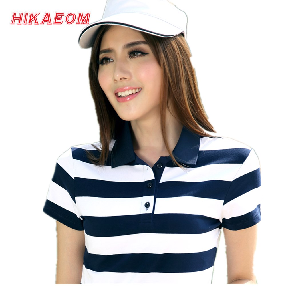 2017 Spring New Summer Striped Cotton Short Sleeved font b Polos b font font b Womens